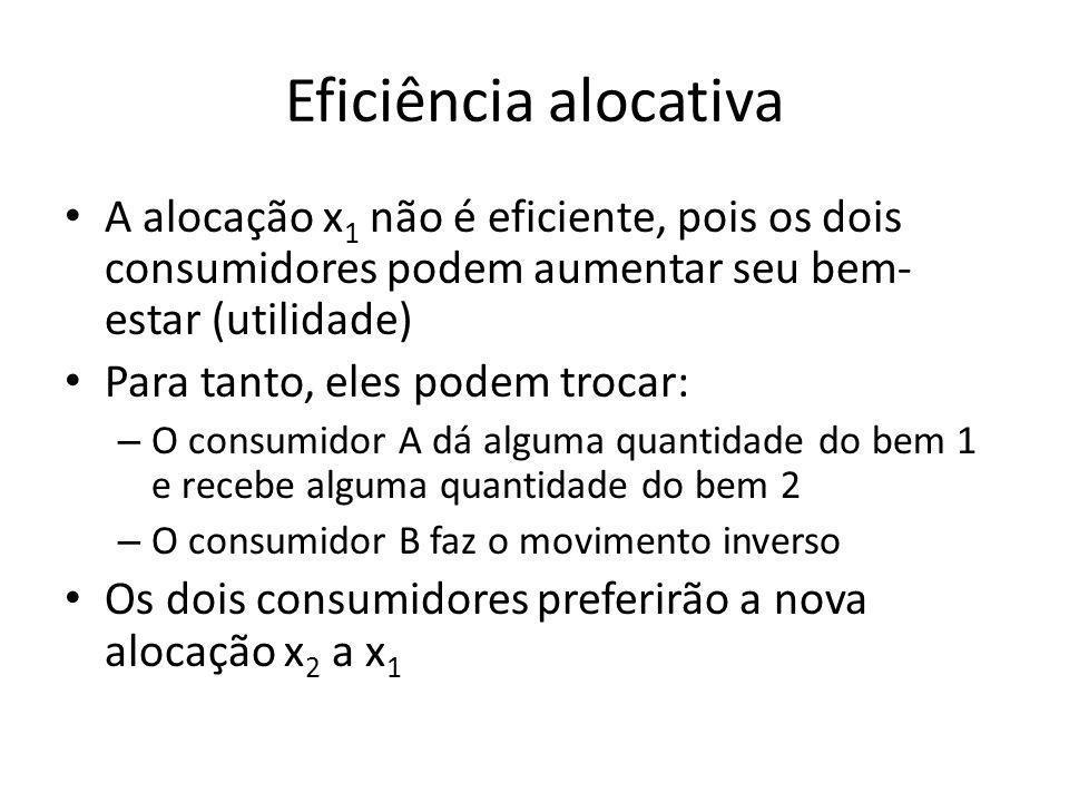 Eficiência alocativa A alocação x 1 não é eficiente, pois os dois consumidores podem aumentar seu bem- estar (utilidade) Para tanto, eles podem trocar