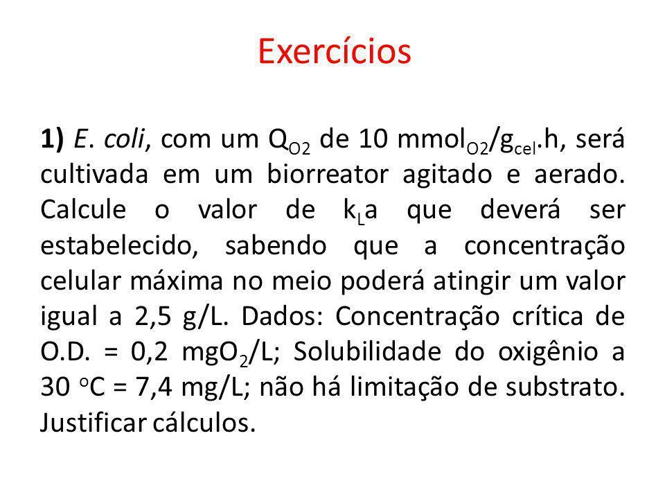 1) E. coli, com um Q O2 de 10 mmol O2 /g cel.h, será cultivada em um biorreator agitado e aerado. Calcule o valor de k L a que deverá ser estabelecido