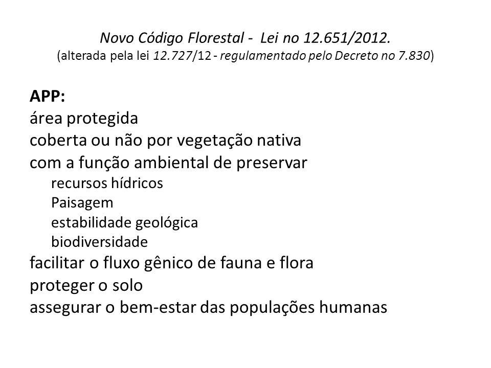 Novo Código Florestal - Lei no 12.651/2012. (alterada pela lei 12.727/12 - regulamentado pelo Decreto no 7.830) APP: área protegida coberta ou não por