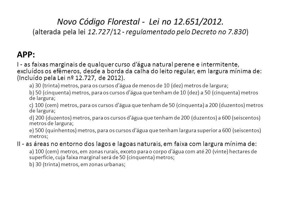 Novo Código Florestal - Lei no 12.651/2012. (alterada pela lei 12.727/12 - regulamentado pelo Decreto no 7.830) APP: I - as faixas marginais de qualqu