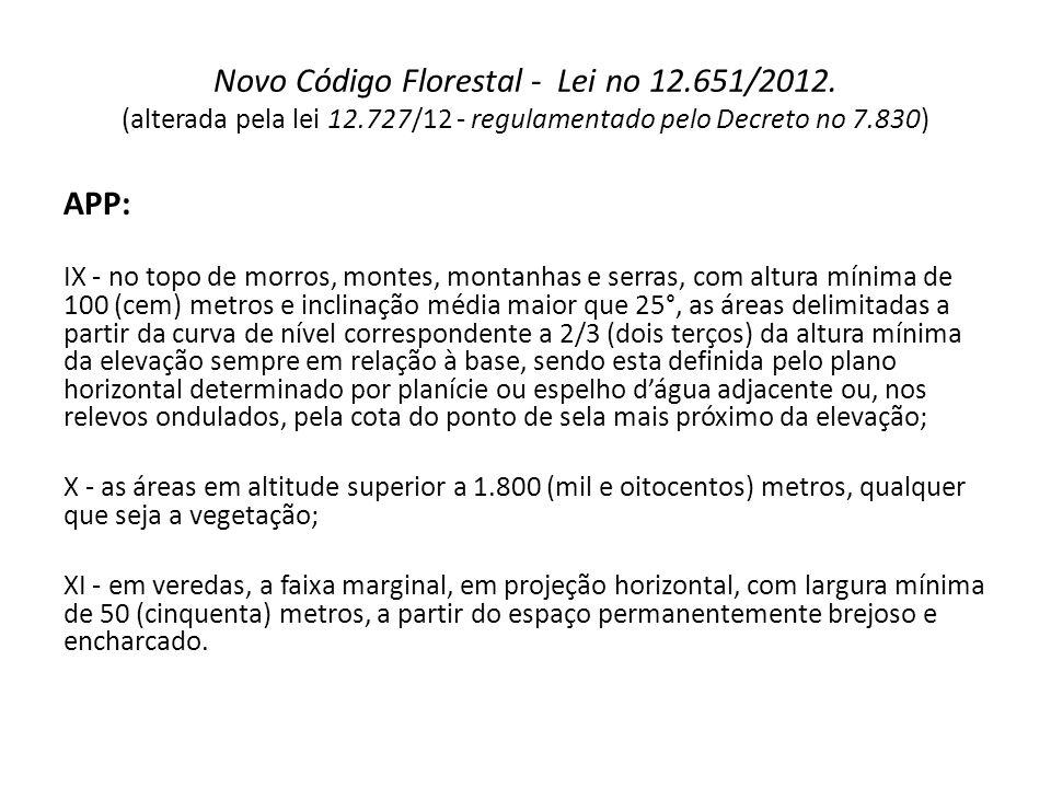 Novo Código Florestal - Lei no 12.651/2012. (alterada pela lei 12.727/12 - regulamentado pelo Decreto no 7.830) APP: IX - no topo de morros, montes, m