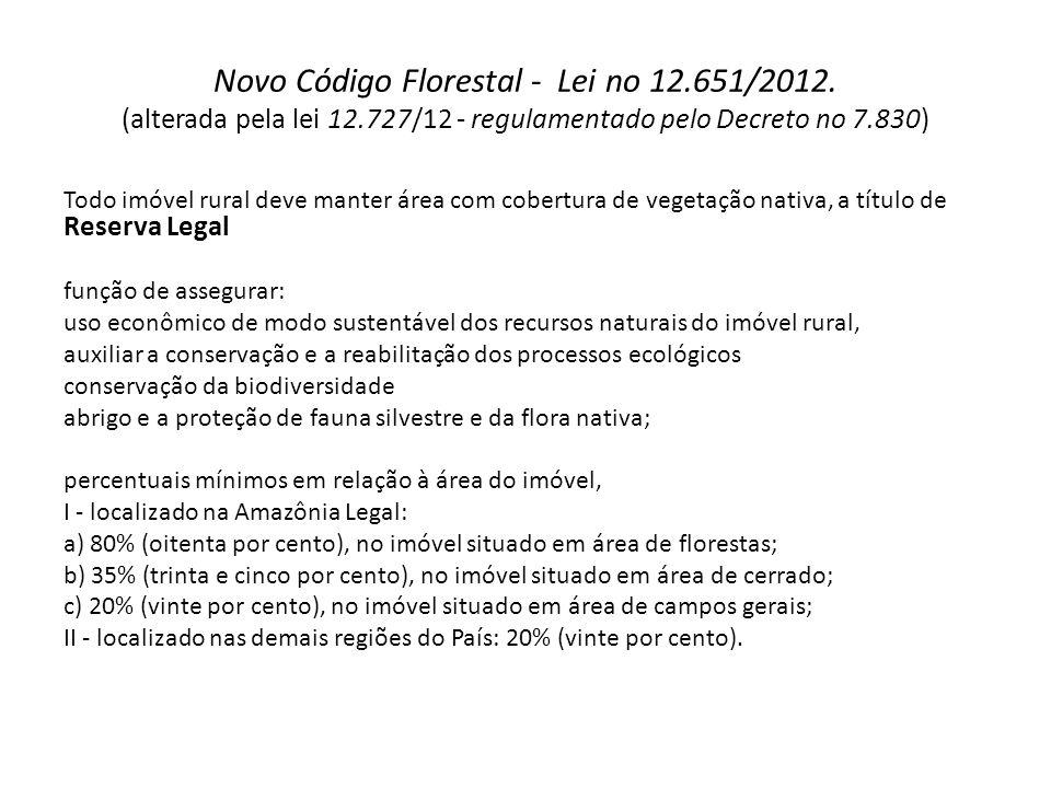Novo Código Florestal - Lei no 12.651/2012. (alterada pela lei 12.727/12 - regulamentado pelo Decreto no 7.830) Todo imóvel rural deve manter área com