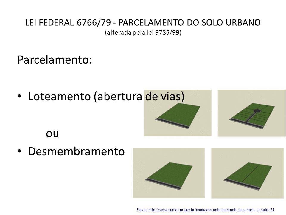 LEI FEDERAL 6766/79 - PARCELAMENTO DO SOLO URBANO (alterada pela lei 9785/99) Parcelamento: Loteamento (abertura de vias) ou Desmembramento Figura: ht