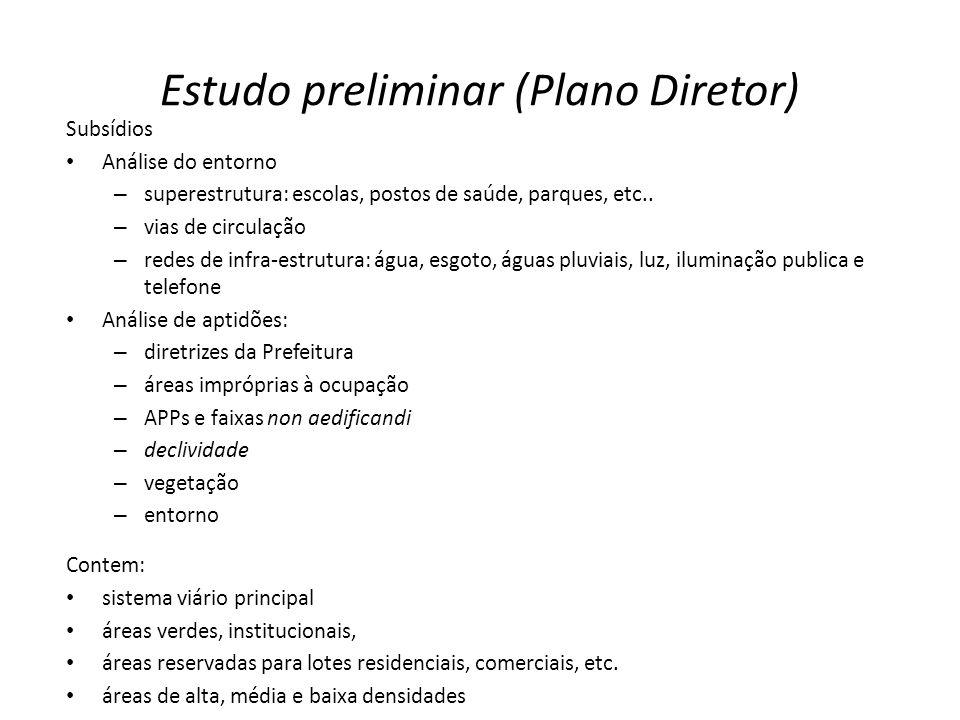 Estudo preliminar (Plano Diretor) Subsídios Análise do entorno – superestrutura: escolas, postos de saúde, parques, etc.. – vias de circulação – redes