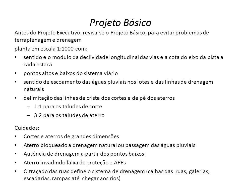 Projeto Básico Antes do Projeto Executivo, revisa-se o Projeto Básico, para evitar problemas de terraplenagem e drenagem planta em escala 1:1000 com:
