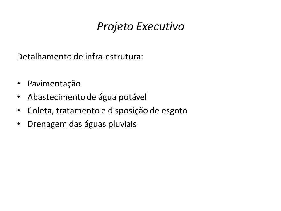 Projeto Executivo Detalhamento de infra-estrutura: Pavimentação Abastecimento de água potável Coleta, tratamento e disposição de esgoto Drenagem das á