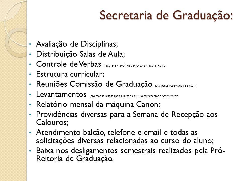 Secretaria de Graduação: Avaliação de Disciplinas; Distribuição Salas de Aula; Controle de Verbas (PRÓ-EVE / PRÓ-INT / PRÓ-LAB / PRÓ-INFO ) ; Estrutur