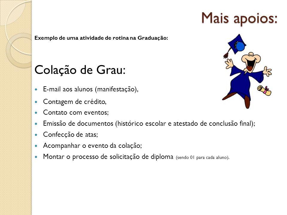 Mais apoios: Exemplo de uma atividade de rotina na Graduação: Colação de Grau: E-mail aos alunos (manifestação), Contagem de crédito, Contato com even
