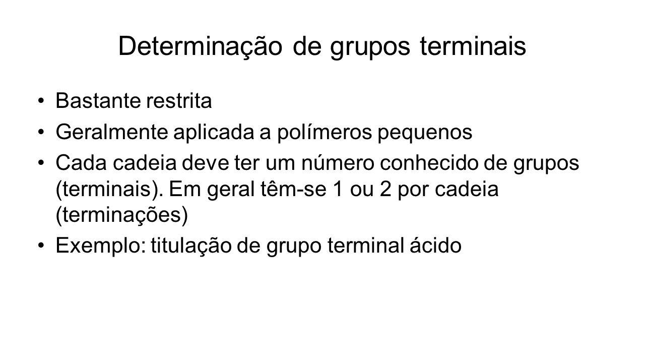 Determinação de grupos terminais Bastante restrita Geralmente aplicada a polímeros pequenos Cada cadeia deve ter um número conhecido de grupos (termin