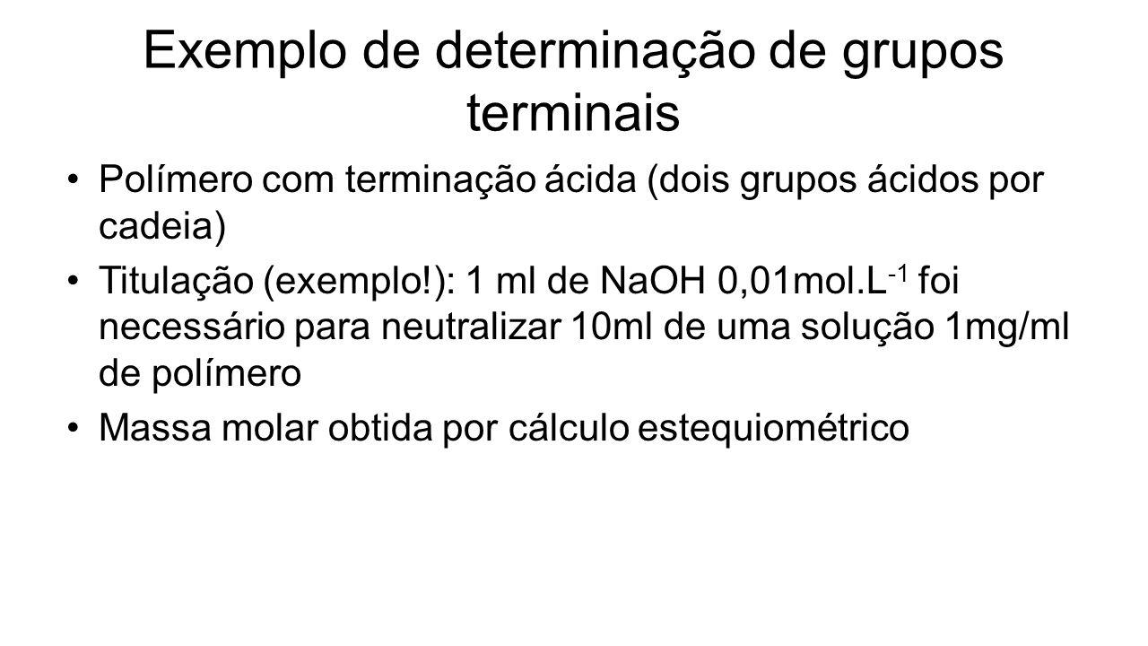 Exemplo de determinação de grupos terminais Polímero com terminação ácida (dois grupos ácidos por cadeia) Titulação (exemplo!): 1 ml de NaOH 0,01mol.L