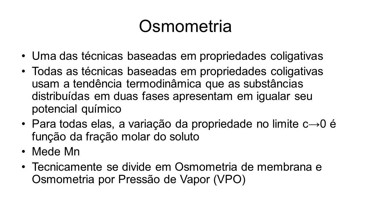 Osmometria Uma das técnicas baseadas em propriedades coligativas Todas as técnicas baseadas em propriedades coligativas usam a tendência termodinâmica