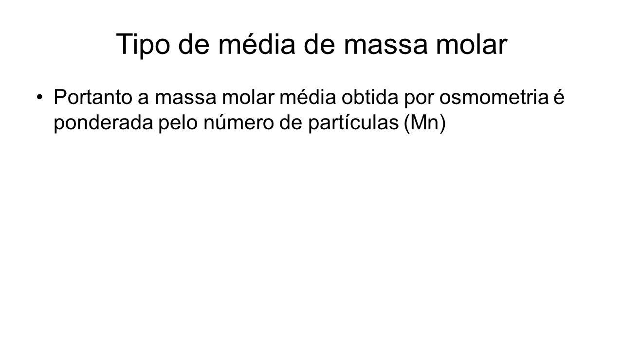 Portanto a massa molar média obtida por osmometria é ponderada pelo número de partículas (Mn)