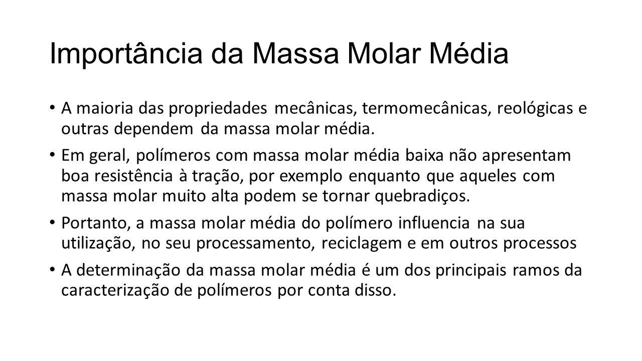Importância da Massa Molar Média A maioria das propriedades mecânicas, termomecânicas, reológicas e outras dependem da massa molar média. Em geral, po