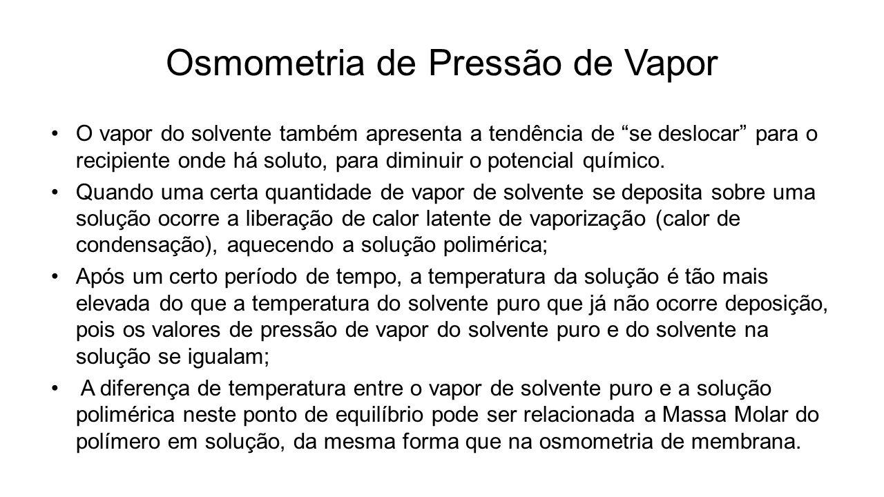 Osmometria de Pressão de Vapor O vapor do solvente também apresenta a tendência de se deslocar para o recipiente onde há soluto, para diminuir o poten