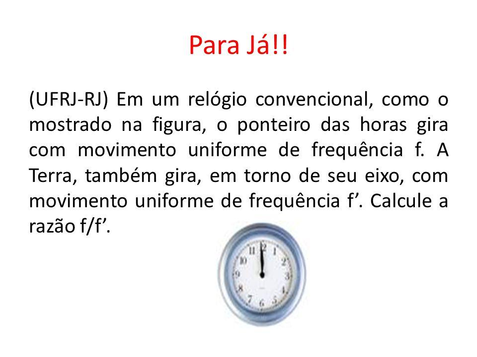 Para Já!! (UFRJ-RJ) Em um relógio convencional, como o mostrado na figura, o ponteiro das horas gira com movimento uniforme de frequência f. A Terra,