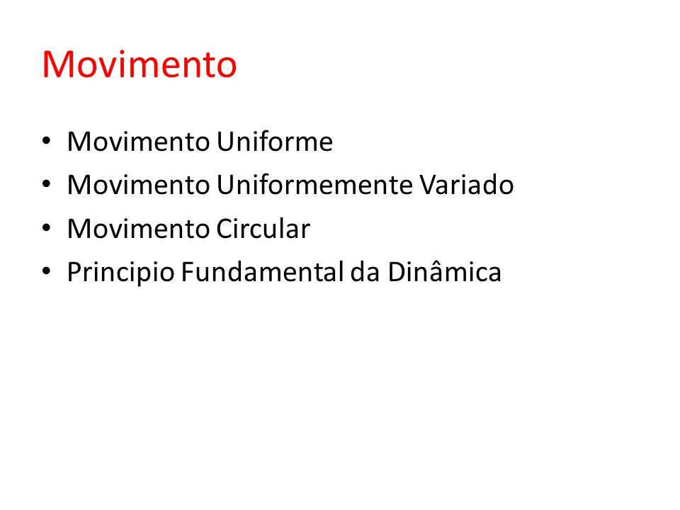 Movimento Movimento Uniforme Movimento Uniformemente Variado Movimento Circular Principio Fundamental da Dinâmica