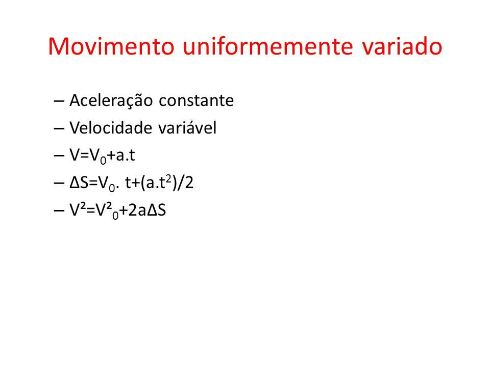 Movimento uniformemente variado – Aceleração constante – Velocidade variável – V=V 0 +a.t – ΔS=V 0. t+(a.t 2 )/2 – V²=V² 0 +2aΔS