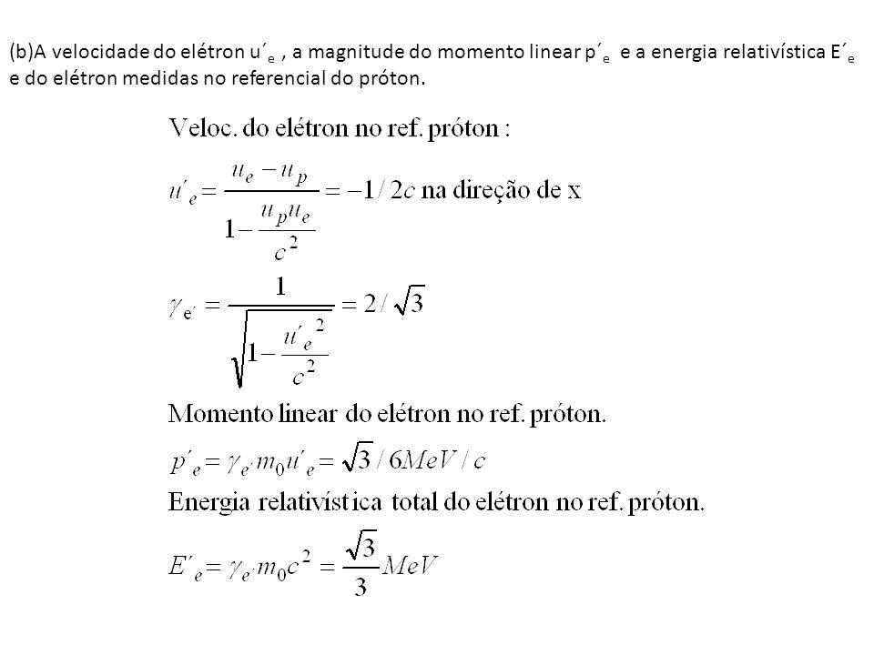 (b)A velocidade do elétron u´ e, a magnitude do momento linear p´ e e a energia relativística E´ e e do elétron medidas no referencial do próton.