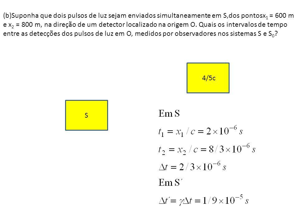(b)Suponha que dois pulsos de luz sejam enviados simultaneamente em S,dos pontosx 1 = 600 m e x 2 = 800 m, na direção de um detector localizado na ori