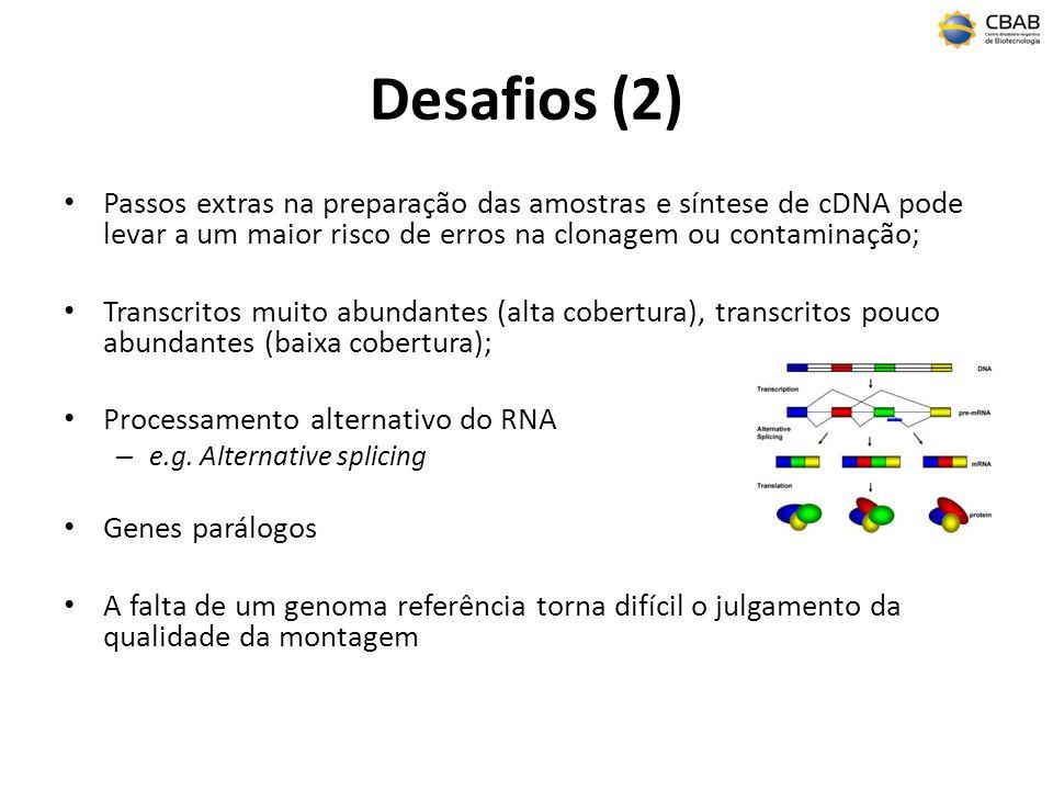 Desafios (2) Passos extras na preparação das amostras e síntese de cDNA pode levar a um maior risco de erros na clonagem ou contaminação; Transcritos muito abundantes (alta cobertura), transcritos pouco abundantes (baixa cobertura); Processamento alternativo do RNA – e.g.