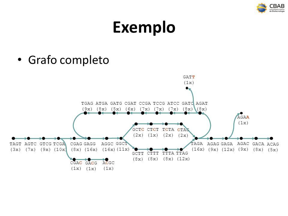 Exemplo Grafo completo AGAT (8x) ATCC (7x) TCCG (7x) CCGA (7x) CGAT (6x) GATG (5x) ATGA (8x) TGAG (9x) GATC (8x) GATT (1x) TAGT (3x) AGTC (7x) GTCG (9x) TCGA (10x) GGCT (11x) TAGA (16x) AGAG (9x) GAGA (12x) GACA (8x) ACAG (5x) GCTT (8x) GCTC (2x) CTTT (8x) CTCT (1x) TTTA (8x) TCTA (2x) TTAG (12x) CTAG (2x) AGAC (9x) AGAA (1x) CGAG (8x) CGAC (1x) GAGG (16x) GACG (1x) AGGC (16x) ACGC (1x)