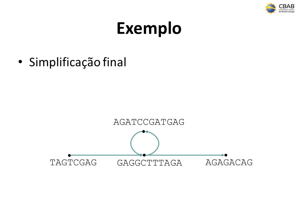 Exemplo Simplificação final TAGTCGAG AGAGACAG AGATCCGATGAG GAGGCTTTAGA