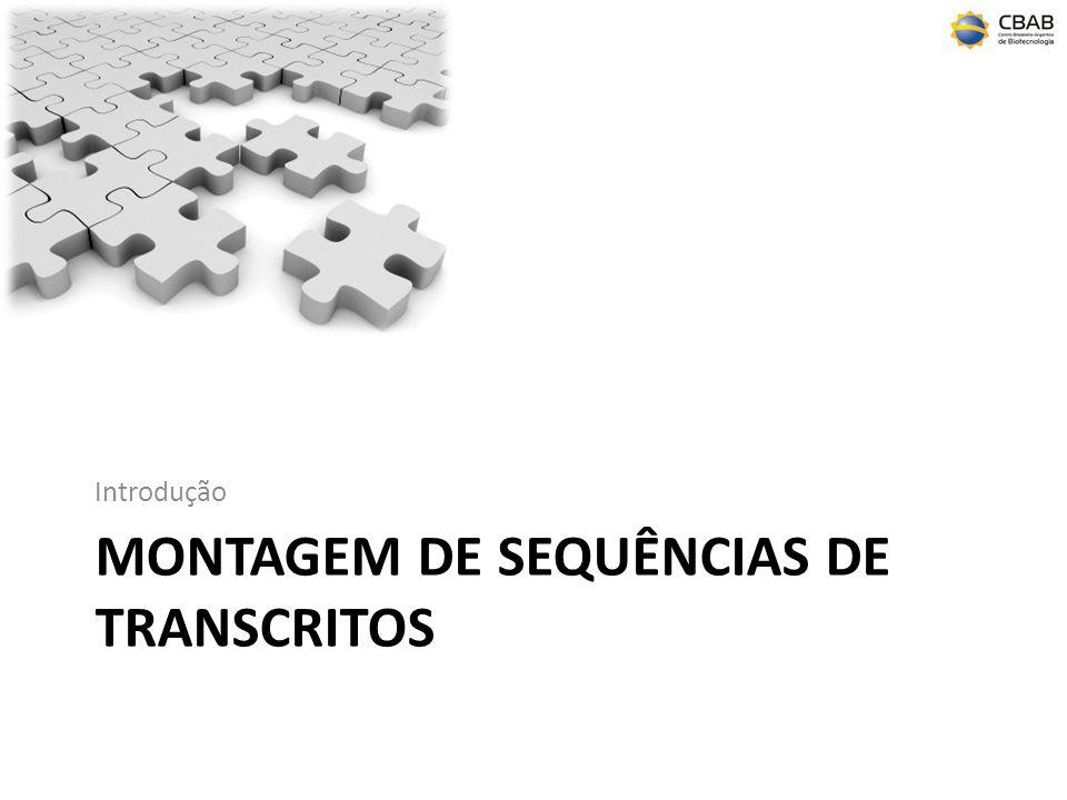 Montagem Definição – É uma estrutura hierárquica que mapeia os dados de sequências de fragmentos para uma reconstrução aproximada do alvo (neste caso transcritos) em sua forma original; leituras (reads) => contigs => scaffolds – A montagem agrupa sequências em contigs e contigs em scaffolds (supercontigs); – A montagem só é possível quando o alvo (transcriptoma) é excessivamente sequenciado;