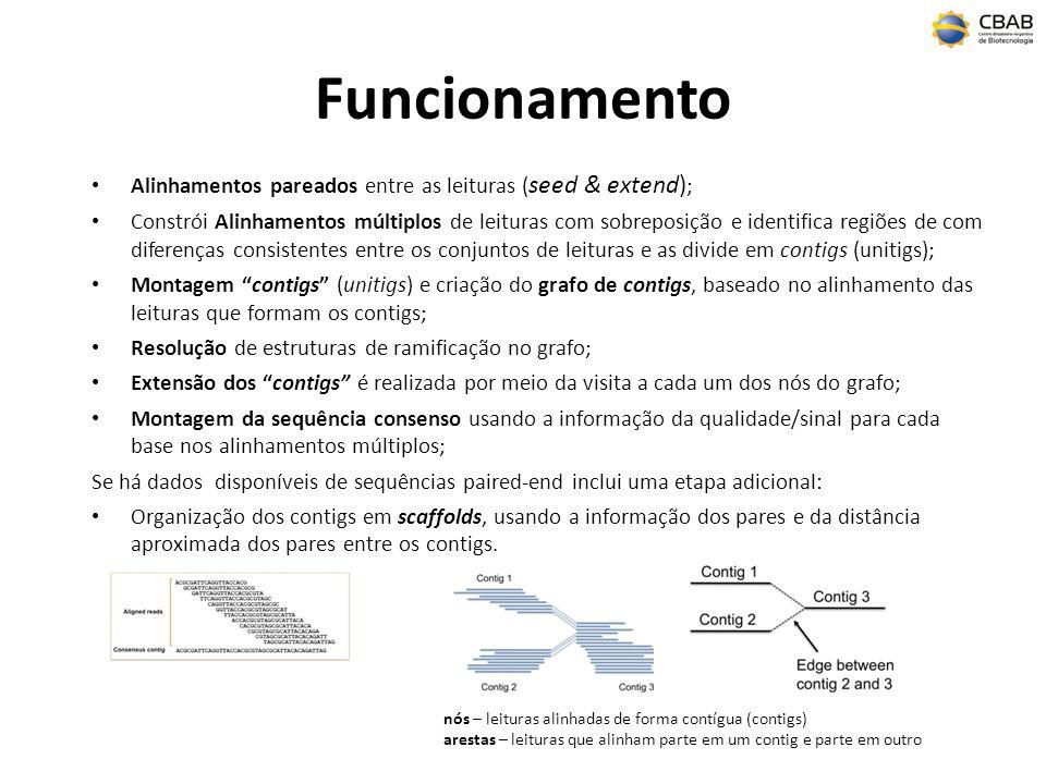 Funcionamento Alinhamentos pareados entre as leituras ( seed & extend) ; Constrói Alinhamentos múltiplos de leituras com sobreposição e identifica regiões de com diferenças consistentes entre os conjuntos de leituras e as divide em contigs (unitigs); Montagem contigs (unitigs) e criação do grafo de contigs, baseado no alinhamento das leituras que formam os contigs; Resolução de estruturas de ramificação no grafo; Extensão dos contigs é realizada por meio da visita a cada um dos nós do grafo; Montagem da sequência consenso usando a informação da qualidade/sinal para cada base nos alinhamentos múltiplos; Se há dados disponíveis de sequências paired-end inclui uma etapa adicional: Organização dos contigs em scaffolds, usando a informação dos pares e da distância aproximada dos pares entre os contigs.