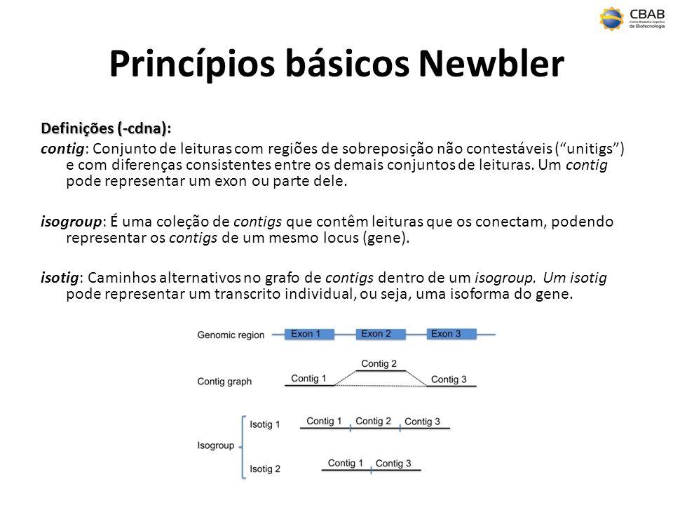 Princípios básicos Newbler Definições (-cdna) Definições (-cdna): contig: Conjunto de leituras com regiões de sobreposição não contestáveis (unitigs) e com diferenças consistentes entre os demais conjuntos de leituras.