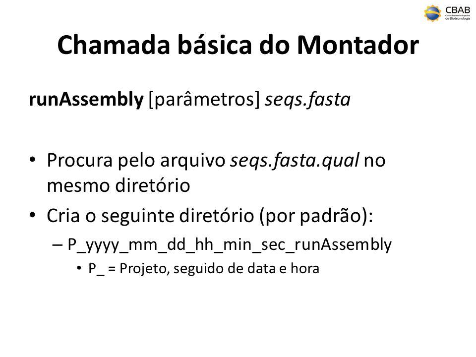 Chamada básica do Montador runAssembly [parâmetros] seqs.fasta Procura pelo arquivo seqs.fasta.qual no mesmo diretório Cria o seguinte diretório (por padrão): – P_yyyy_mm_dd_hh_min_sec_runAssembly P_ = Projeto, seguido de data e hora