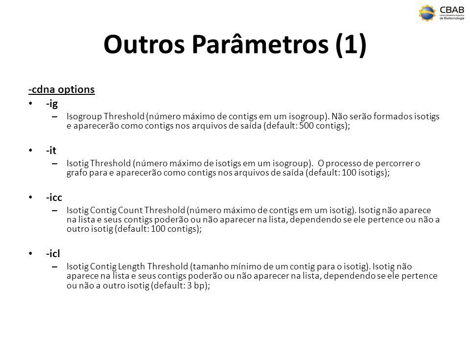 Outros parâmetros (2) -notrim – desabilitar trimagem default de qualidade e primer; -p – especificar que as leituras são paired-ends, caso contrário será detectada automaticamente; -ud – trata leituras separadamente, não agrupamento de duplicatas; -ss – especificar seed step parameter (default: 12); -sl – especificar seed length parameter (default: 16); -sc – especificar seed count parameter (default 1); -ml – especificar tamanho mínimo da sobreposição (default: 40); -mi – especificar a identidade mínima da sobreposição (default: 90);