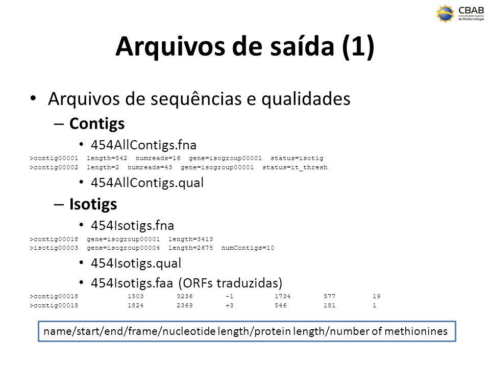 Arquivos de saída (1) Arquivos de sequências e qualidades – Contigs 454AllContigs.fna >contig00001 length=542 numreads=16 gene=isogroup00001 status=isotig >contig00002 length=2 numreads=43 gene=isogroup00001 status=it_thresh 454AllContigs.qual – Isotigs 454Isotigs.fna >contig00018 gene=isogroup00001 length=3413 >isotig00003 gene=isogroup00004 length=2675 numContigs=10 454Isotigs.qual 454Isotigs.faa (ORFs traduzidas) >contig0001815033236-1173457719 >contig0001818242369+35461811 name/start/end/frame/nucleotide length/protein length/number of methionines