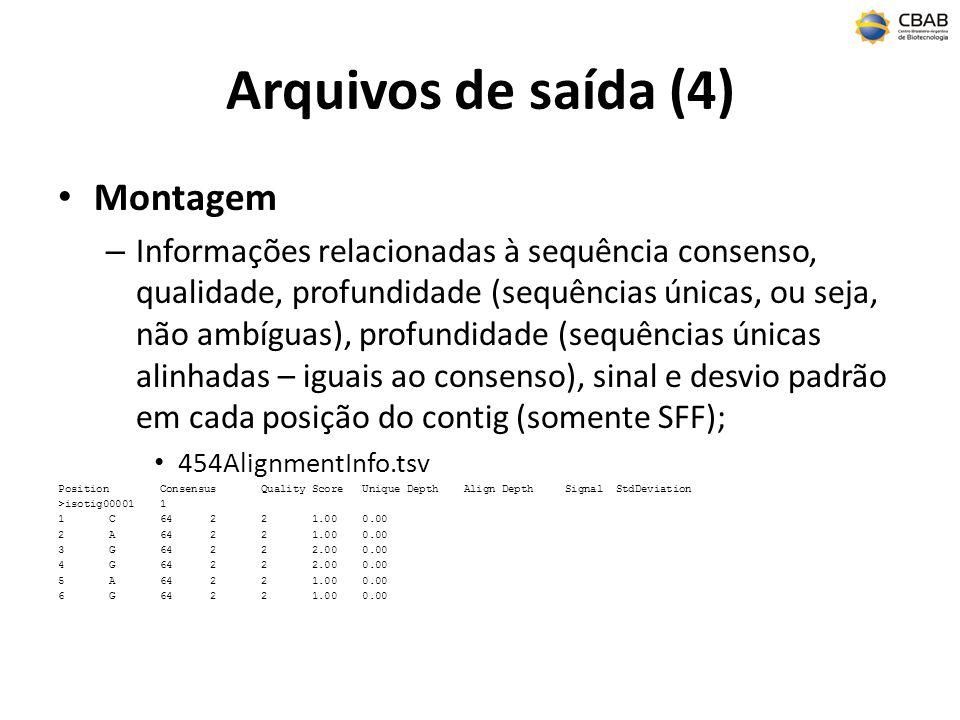 Arquivos de saída (4) Montagem – Informações relacionadas à sequência consenso, qualidade, profundidade (sequências únicas, ou seja, não ambíguas), profundidade (sequências únicas alinhadas – iguais ao consenso), sinal e desvio padrão em cada posição do contig (somente SFF); 454AlignmentInfo.tsv Position Consensus Quality Score Unique Depth Align Depth Signal StdDeviation >isotig00001 1 1 C 64 2 2 1.00 0.00 2 A 64 2 2 1.00 0.00 3 G 64 2 2 2.00 0.00 4 G 64 2 2 2.00 0.00 5 A 64 2 2 1.00 0.00 6 G 64 2 2 1.00 0.00