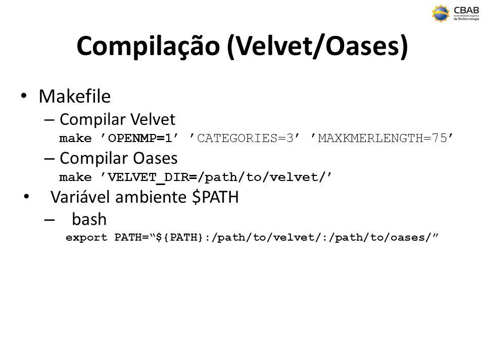 Compilação (Velvet/Oases) Makefile – Compilar Velvet make OPENMP=1 CATEGORIES=3 MAXKMERLENGTH=75 – Compilar Oases make VELVET_DIR=/path/to/velvet/ Variável ambiente $PATH – bash export PATH=${PATH}:/path/to/velvet/:/path/to/oases/