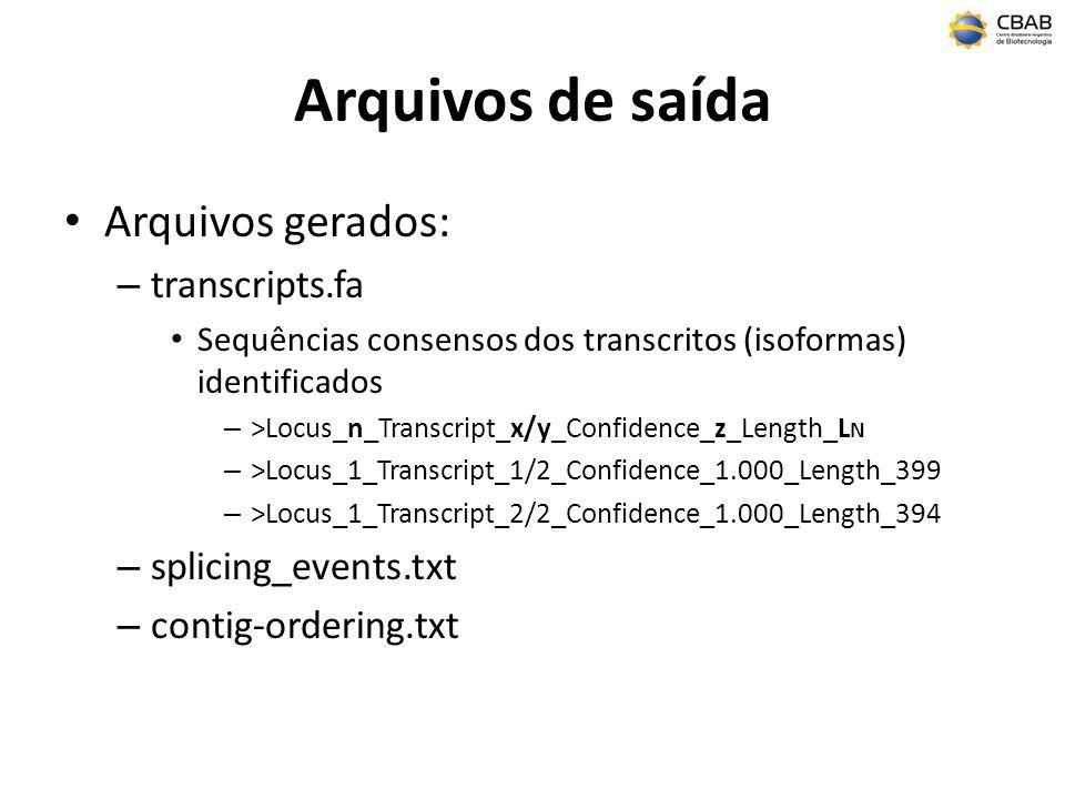 Arquivos de saída Arquivos gerados: – transcripts.fa Sequências consensos dos transcritos (isoformas) identificados – >Locus_n_Transcript_x/y_Confidence_z_Length_L N – >Locus_1_Transcript_1/2_Confidence_1.000_Length_399 – >Locus_1_Transcript_2/2_Confidence_1.000_Length_394 – splicing_events.txt – contig-ordering.txt