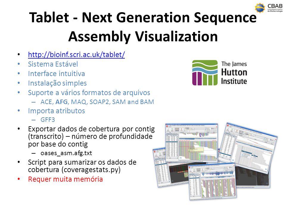 Tablet - Next Generation Sequence Assembly Visualization http://bioinf.scri.ac.uk/tablet/ Sistema Estável Interface intuitiva Instalação simples Suporte a vários formatos de arquivos – ACE, AFG, MAQ, SOAP2, SAM and BAM Importa atributos – GFF3 Exportar dados de cobertura por contig (transcrito) – número de profundidade por base do contig – oases_asm.afg.txt Script para sumarizar os dados de cobertura (coveragestats.py) Requer muita memória