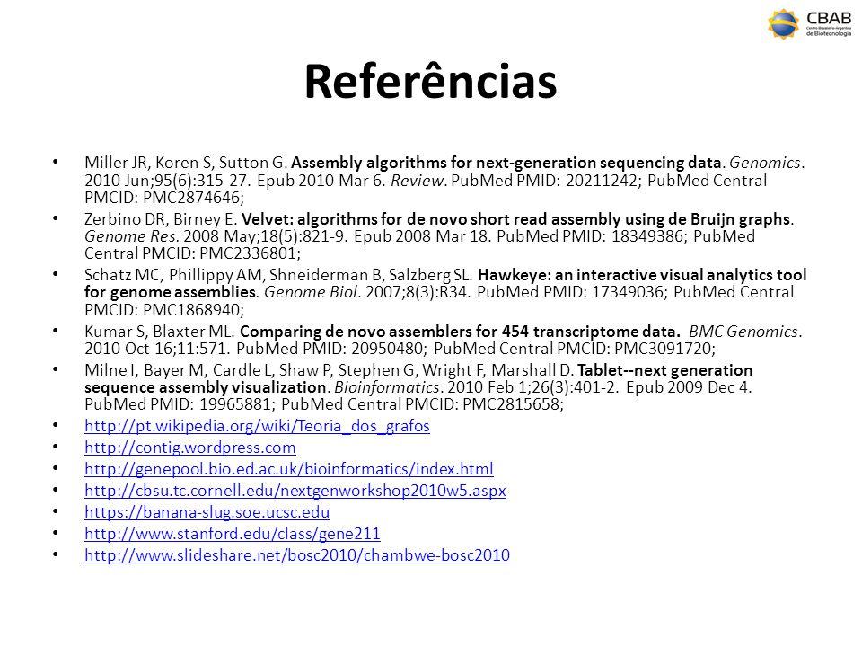 Referências Miller JR, Koren S, Sutton G.Assembly algorithms for next-generation sequencing data.