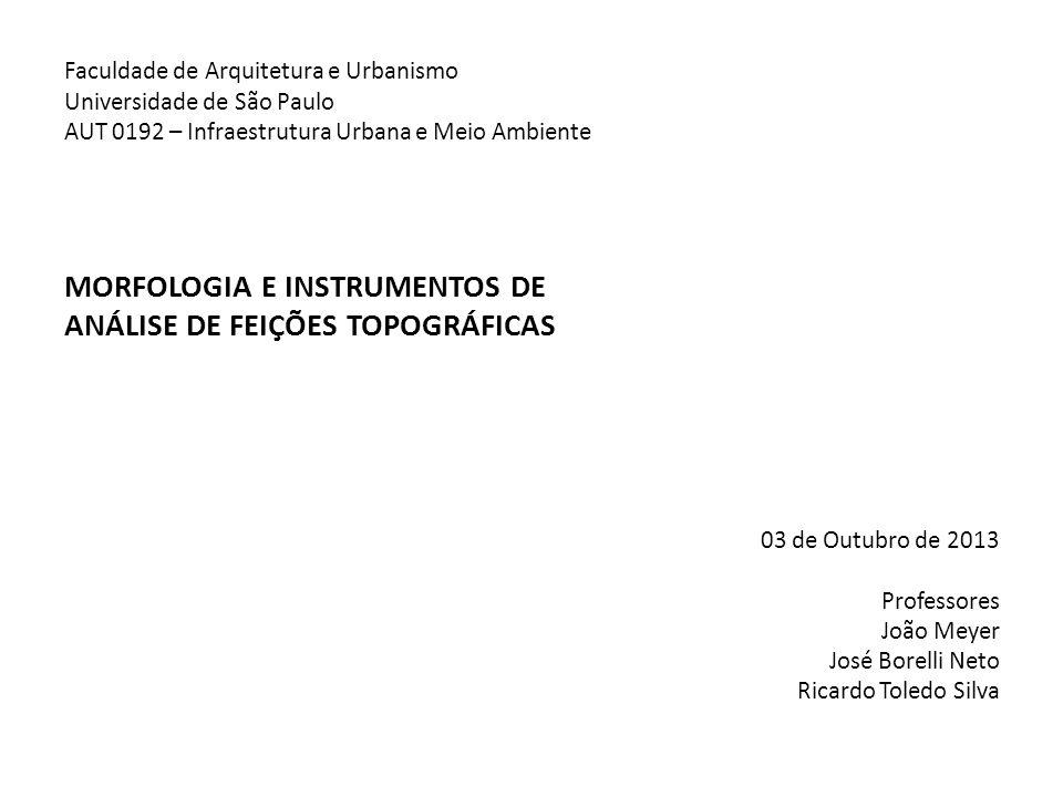 Faculdade de Arquitetura e Urbanismo Universidade de São Paulo AUT 0192 – Infraestrutura Urbana e Meio Ambiente MORFOLOGIA E INSTRUMENTOS DE ANÁLISE D