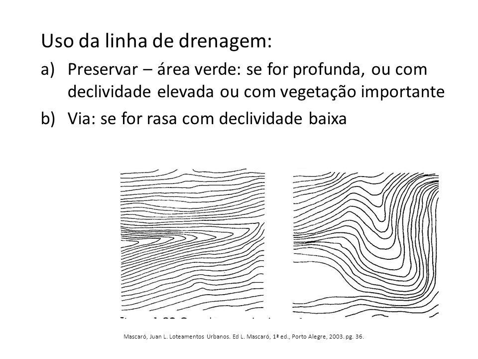 Uso da linha de drenagem: a)Preservar – área verde: se for profunda, ou com declividade elevada ou com vegetação importante b)Via: se for rasa com dec