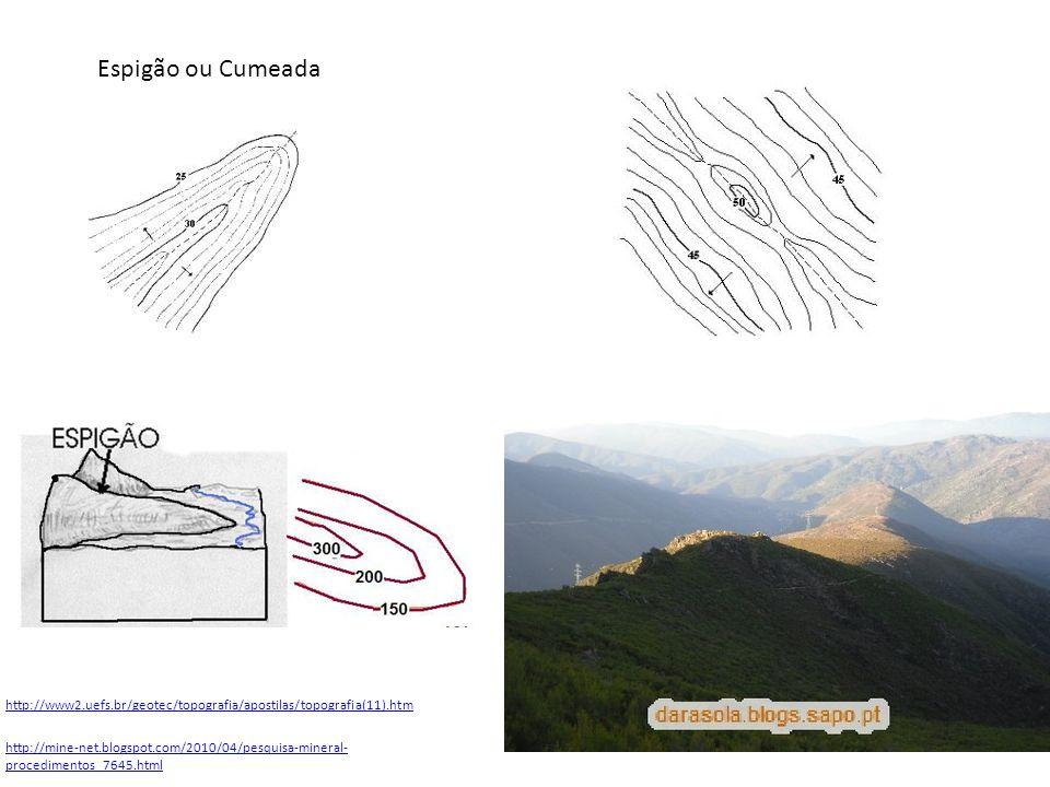 http://www2.uefs.br/geotec/topografia/apostilas/topografia(11).htm Espigão ou Cumeada http://mine-net.blogspot.com/2010/04/pesquisa-mineral- procedime