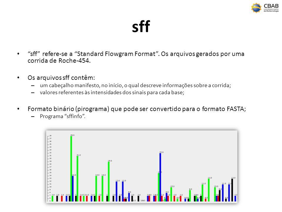 sff sff refere-se a Standard Flowgram Format. Os arquivos gerados por uma corrida de Roche-454. Os arquivos sff contêm: – um cabeçalho manifesto, no i