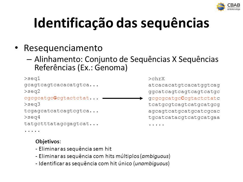 Identificação das sequências Resequenciamento – Alinhamento: Conjunto de Sequências X Sequências Referências (Ex.: Genoma) >seq1 gcagtcagtcacacatgtca.