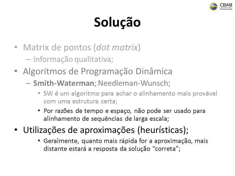 Solução Matrix de pontos (dot matrix) – Informação qualitativa; Algoritmos de Programação Dinâmica – Smith-Waterman; Needleman-Wunsch; SW é um algorit