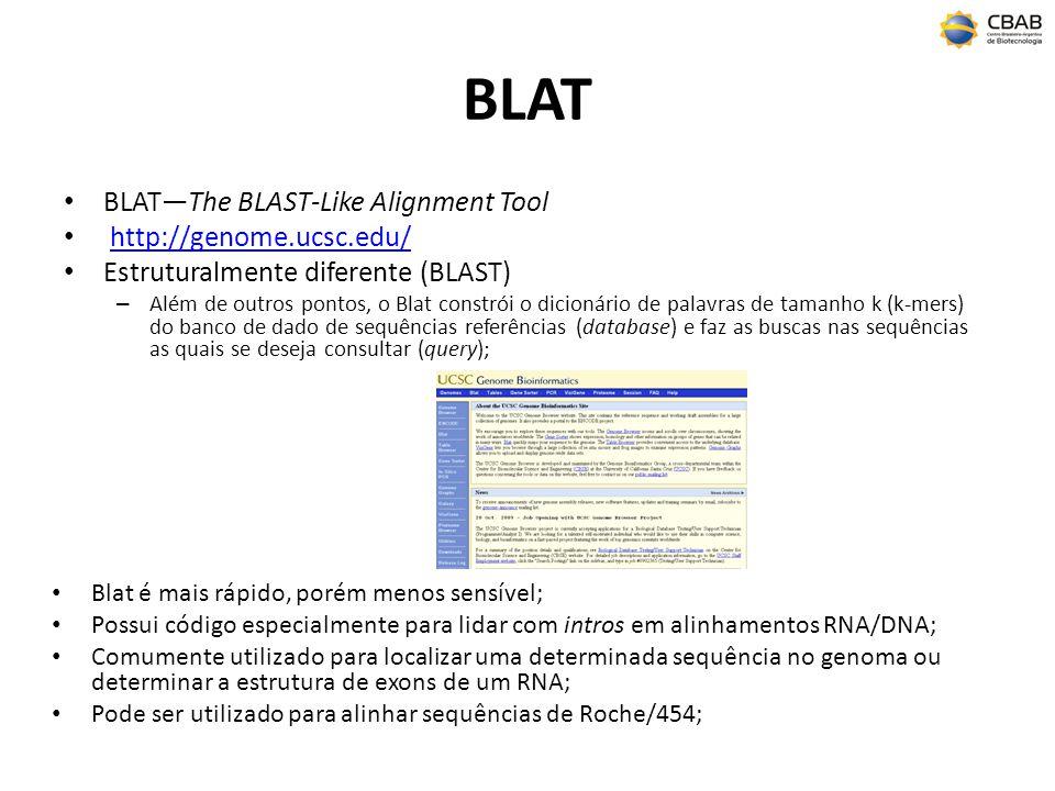 BLAT BLATThe BLAST-Like Alignment Tool http://genome.ucsc.edu/ Estruturalmente diferente (BLAST) – Além de outros pontos, o Blat constrói o dicionário