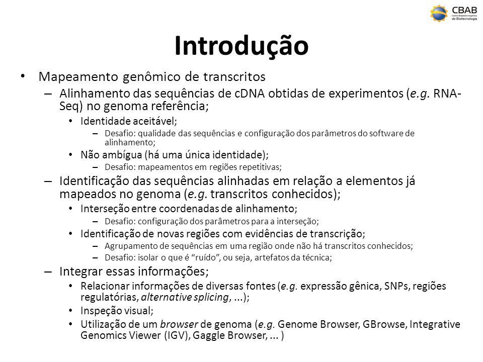 Introdução Mapeamento genômico de transcritos – Alinhamento das sequências de cDNA obtidas de experimentos (e.g. RNA- Seq) no genoma referência; Ident