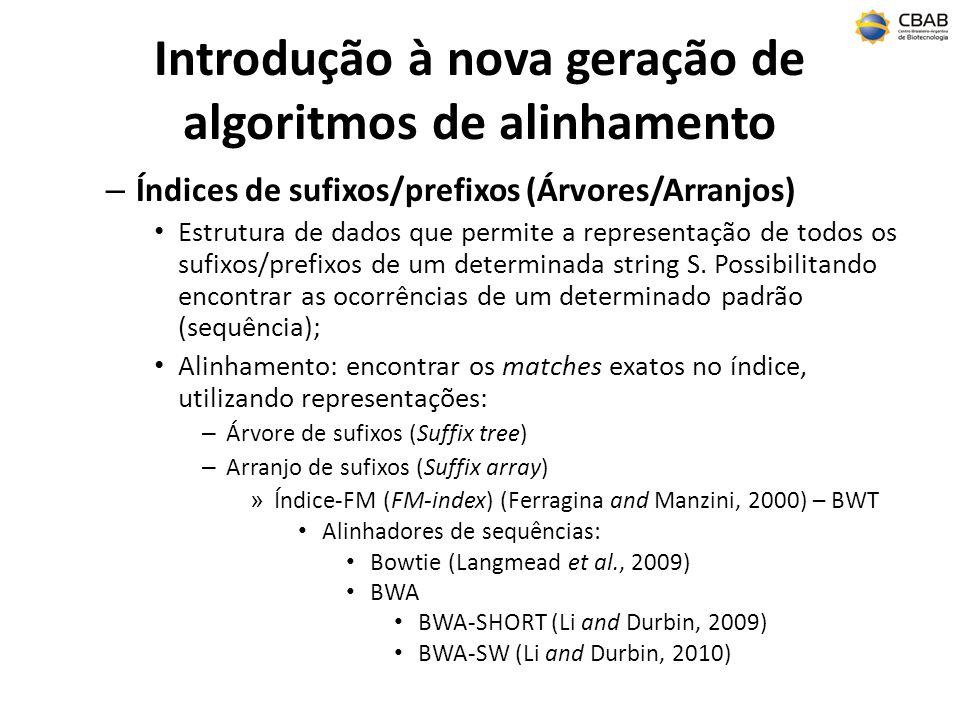 Introdução à nova geração de algoritmos de alinhamento – Índices de sufixos/prefixos (Árvores/Arranjos) Estrutura de dados que permite a representação