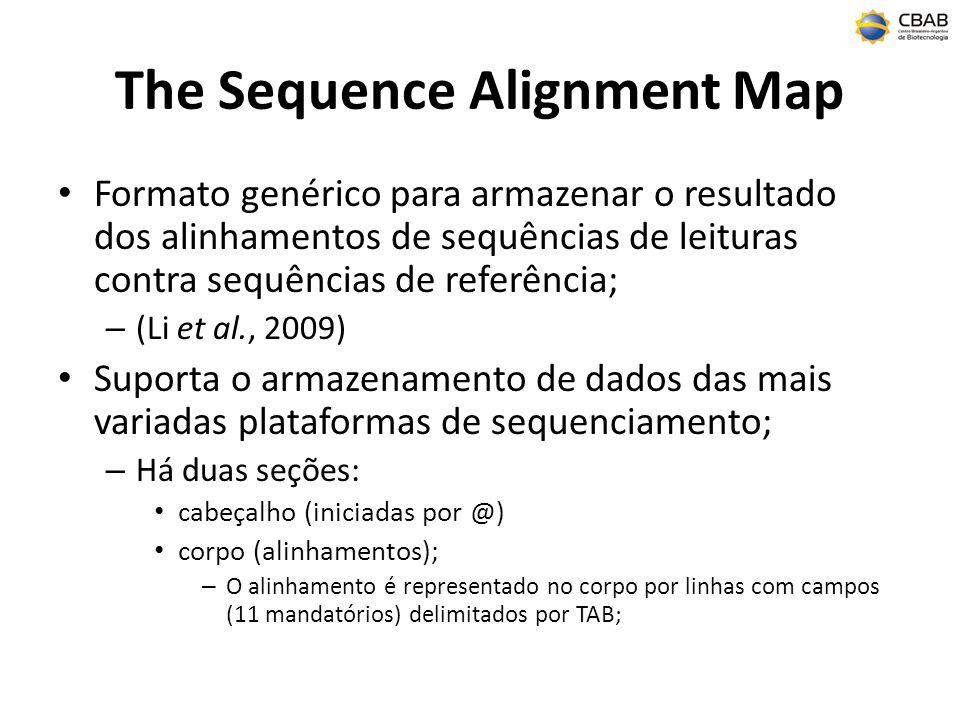 The Sequence Alignment Map Formato genérico para armazenar o resultado dos alinhamentos de sequências de leituras contra sequências de referência; – (