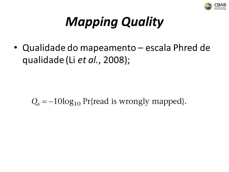 Mapping Quality Qualidade do mapeamento – escala Phred de qualidade (Li et al., 2008);