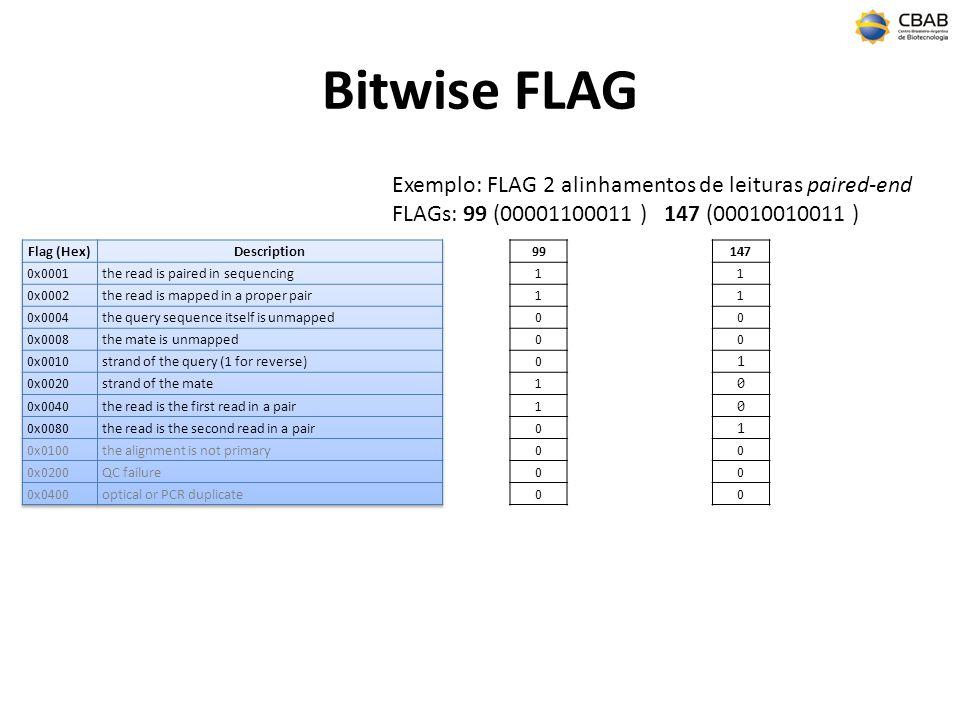 Bitwise FLAG 99 1 1 0 0 0 1 1 0 0 0 0 Exemplo: FLAG 2 alinhamentos de leituras paired-end FLAGs: 99 (00001100011 ) 147 (00010010011 ) 147 1 1 0 0 1 0