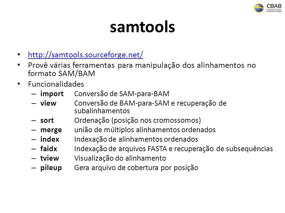 samtools http://samtools.sourceforge.net/ Provê várias ferramentas para manipulação dos alinhamentos no formato SAM/BAM Funcionalidades – importConver